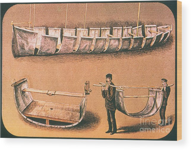 1874 Wood Print featuring the painting Stanleys Portable Boat by Granger