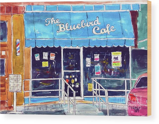 The Bluebird Cafe Wood Print featuring the painting Star Struck by Tim Ross