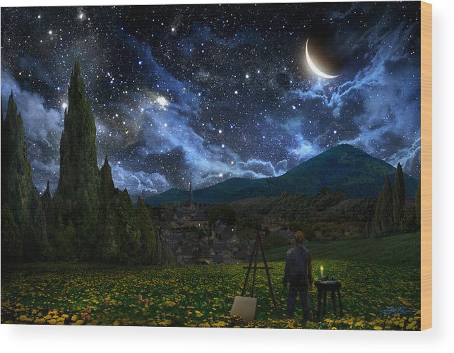 Van Gogh Wood Print featuring the digital art Starry Night by Alex Ruiz