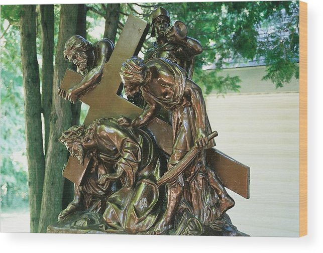 Spiritual Wood Print featuring the photograph Station Of The Cross II by Cheryl Martin