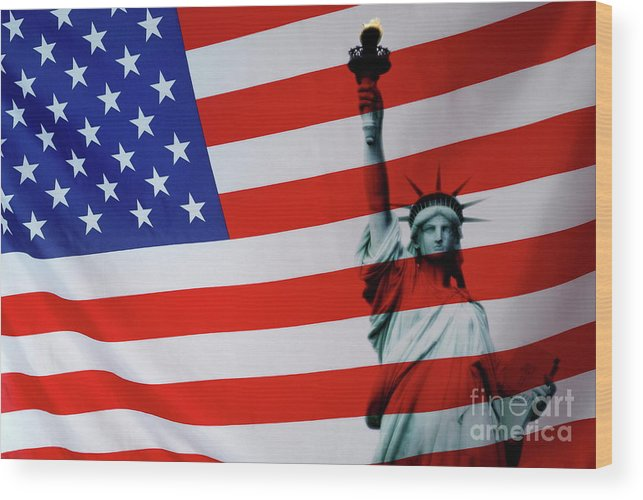 Pride Wood Print featuring the photograph Statue Of Liberty And Us Flag by Sami Sarkis