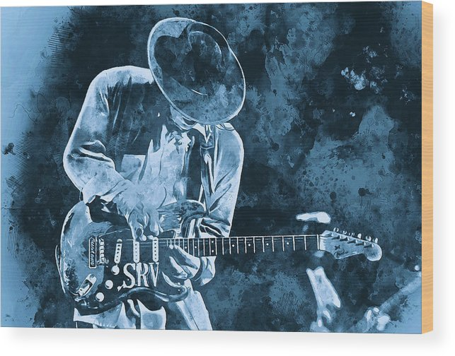 Stevie Ray Vaughan Wood Print featuring the painting Stevie Ray Vaughan - 12 by Andrea Mazzocchetti