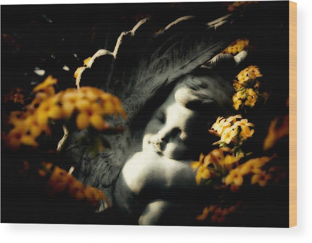 Statue Wood Print featuring the photograph Stone Cherub by Cabral Stock