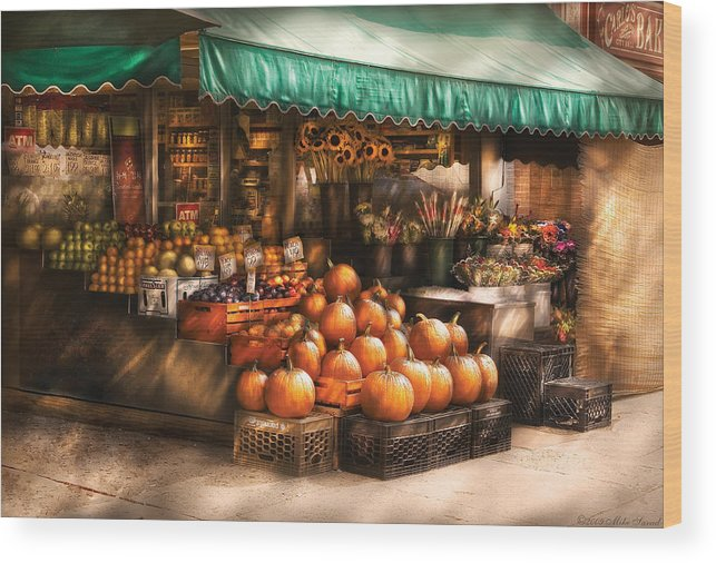 Hoboken Wood Print featuring the photograph Store - Hoboken Nj - The Fruit Market by Mike Savad