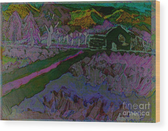 Landscape Wood Print featuring the painting Strawberry Fields by Ayyappa Das