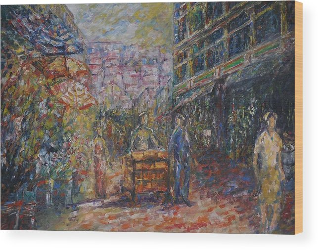 Street Wood Print featuring the painting Street Peddler - Kl Chinatown by Wendy Chua