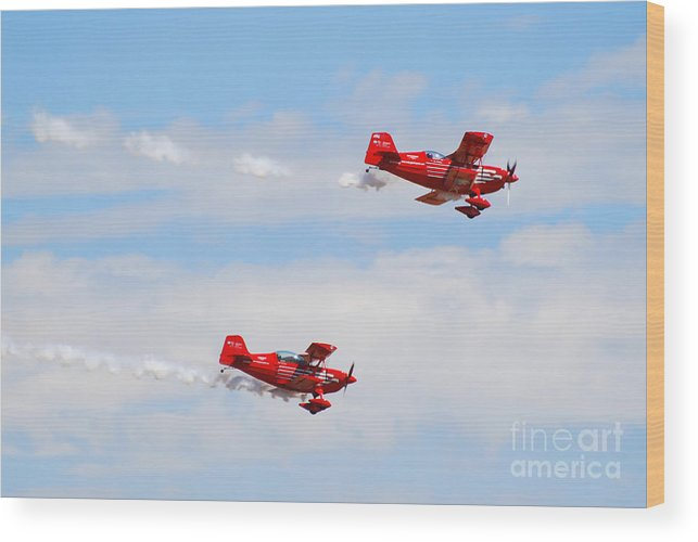 Stunts Wood Print featuring the photograph Stunt Pilots by Larry Keahey