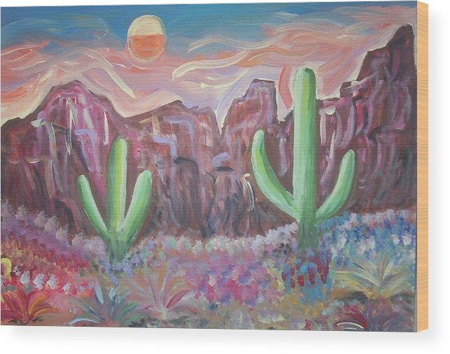 Landscape Wood Print featuring the painting Suggestive Desert Lands by Lindsay St john