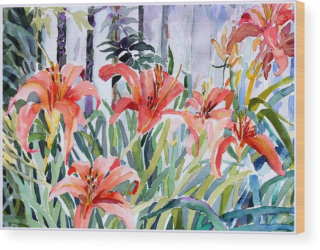 Day Lily Wood Print featuring the painting My Summer Day Liliies by Mindy Newman