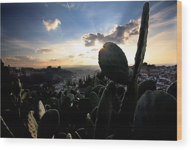 Alhambra Wood Print featuring the photograph Sun Sets On The Alhambra by Jason Hochman
