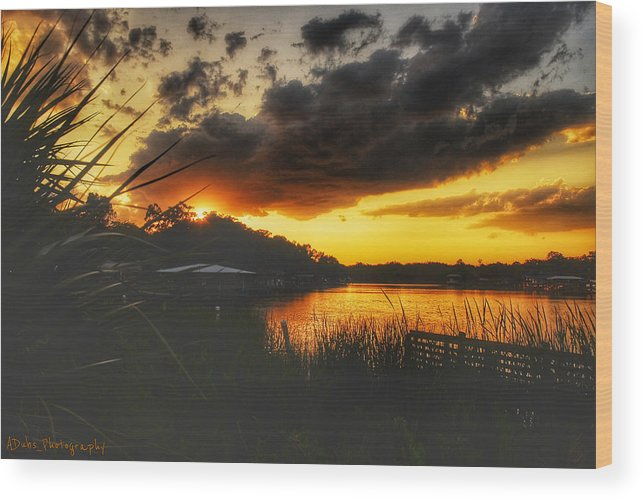 Sunset Wood Print featuring the photograph Sunset On The River by Allen Williamson