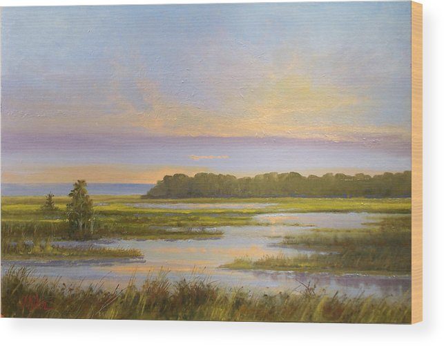 Landscape Wood Print featuring the painting Sunset Over Kootenai by Dalas Klein