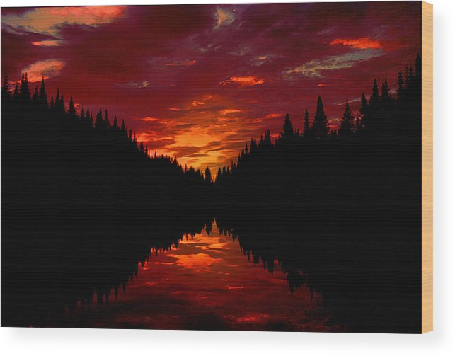 Silhouette Wood Print featuring the photograph Sunset Over Wetlands by Roger Soule