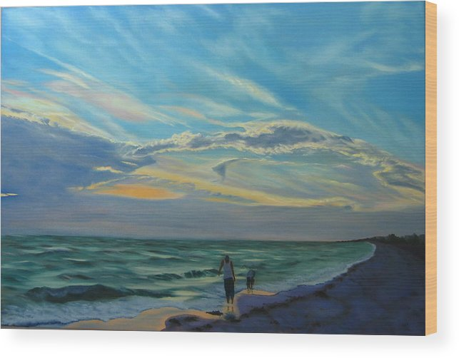 Seascape Wood Print featuring the painting Sunset Treasure Hunt by Lea Novak