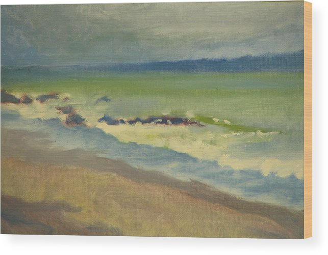 Ocean Wood Print featuring the painting Surf by Robert Bissett