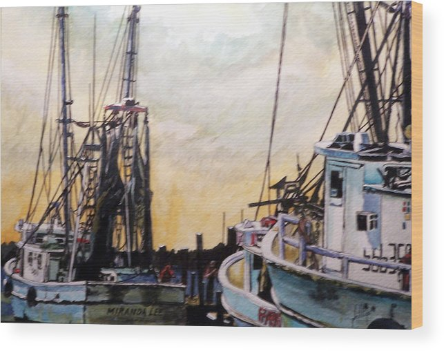 Shrimp Wood Print featuring the painting Swansboro Shrimp Boats by Jim Phillips
