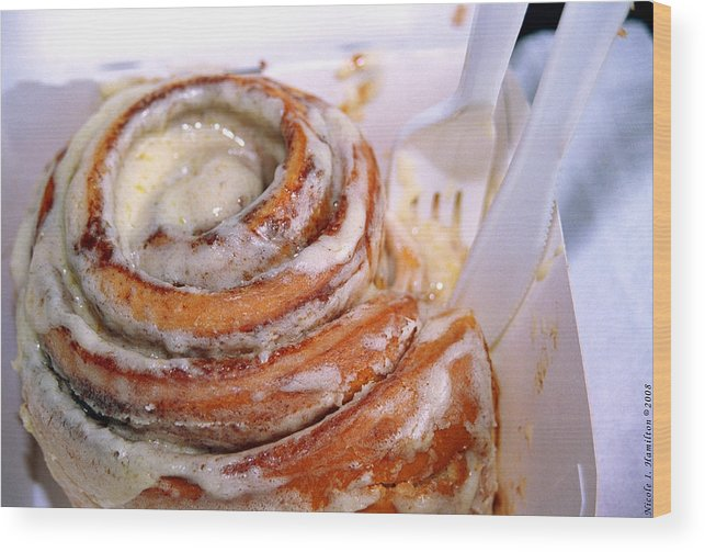 Cinnamon Roll Wood Print featuring the photograph Sweet Treat by Nicole I Hamilton