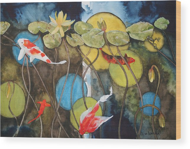 Abstract Wood Print featuring the painting Swimming In Circles by Jean Blackmer