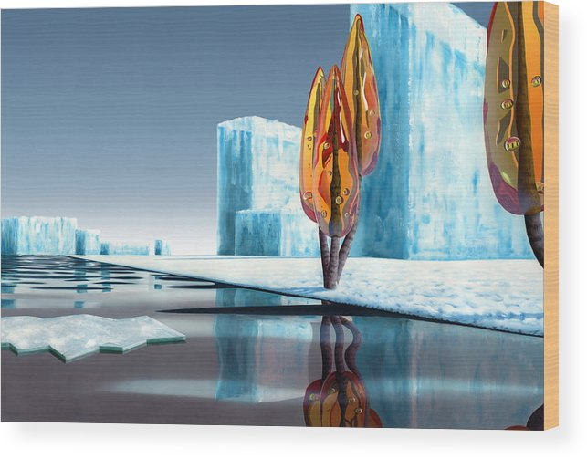 Architecture Wood Print featuring the painting Taxus Glacialis by Patricia Van Lubeck