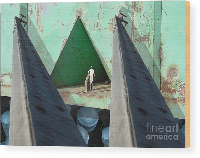 Abstract Wood Print featuring the digital art Temple by Ron Bissett