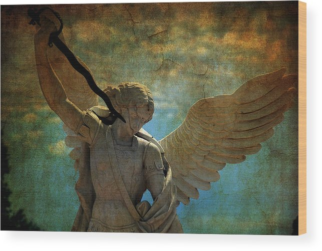 Angel Wood Print featuring the photograph The Angel Of The Last Days by Susanne Van Hulst