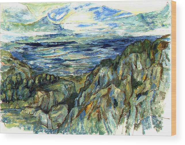 Ocean Wood Print featuring the painting The Cliffs by Lily Hymen