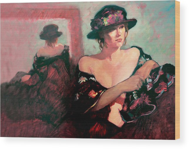 Oil Paintings Wood Print featuring the painting The Flower Hat by Roz McQuillan