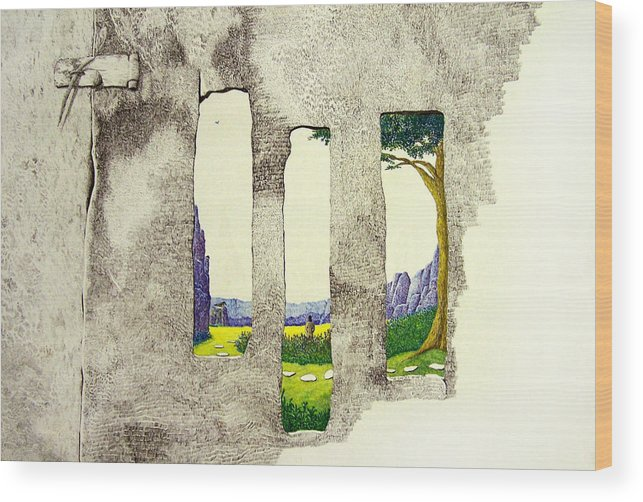 Imaginary Landscape. Wood Print featuring the painting The Garden by A Robert Malcom