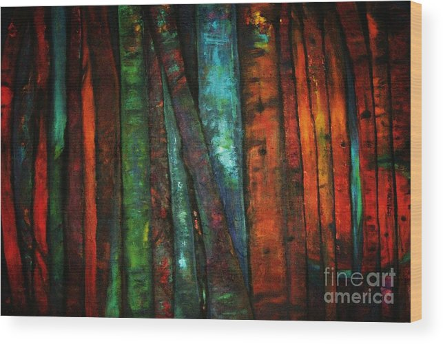 Trees Wood Print featuring the painting The Giants Two by Sidra Myers