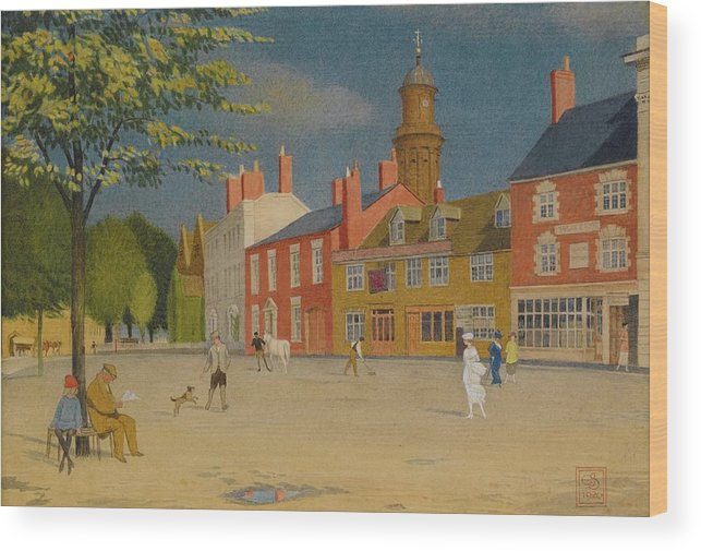 Joseph Edward Southall Wood Print featuring the painting The Green At Banbury by MotionAge Designs