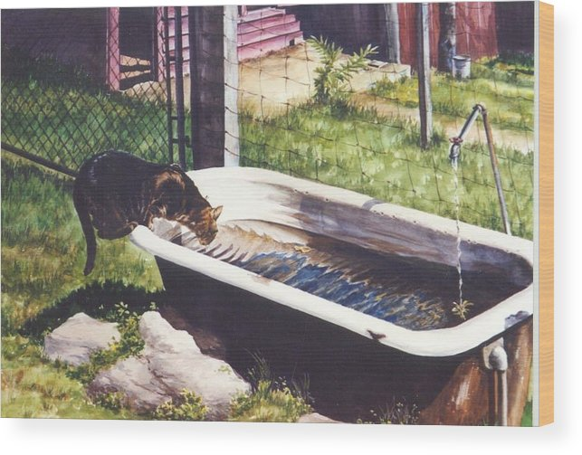 Cat Wood Print featuring the painting The Paws That Refreshes by Marion Hylton