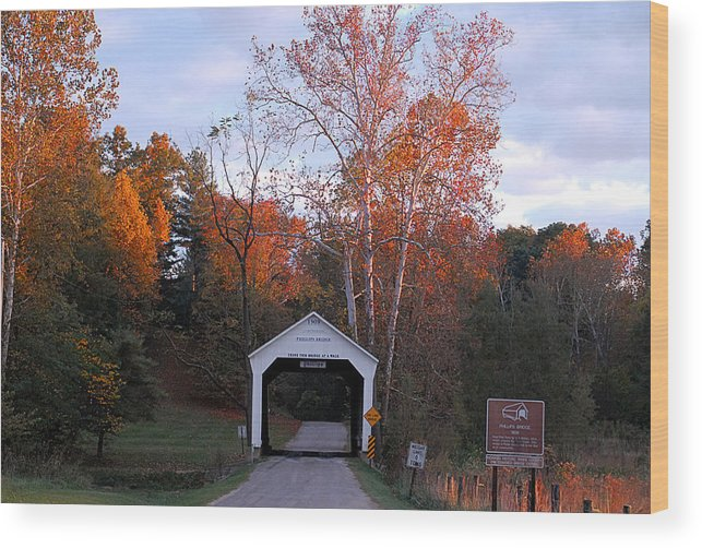 Landscape Wood Print featuring the photograph The Phillips Covered Bridge by John McAllister