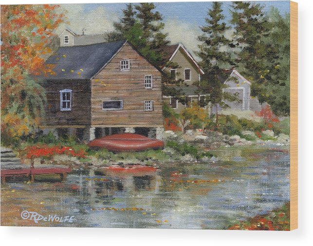 Autumn Wood Print featuring the painting The Red Canoe by Richard De Wolfe
