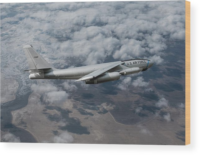 Boeing B-47 Stratojet Bomber Wood Print featuring the mixed media The Stratojet by Erik Simonsen