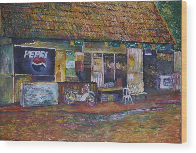 Landscape Wood Print featuring the painting The Sundry Store At Fraiser's Hill by Wendy Chua