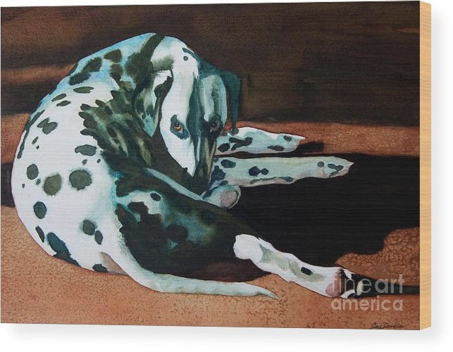 Animal Wood Print featuring the painting The Watcher by Gail Zavala