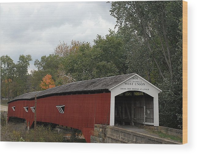 Landscape Wood Print featuring the photograph The West Union Covered Bridge by John McAllister