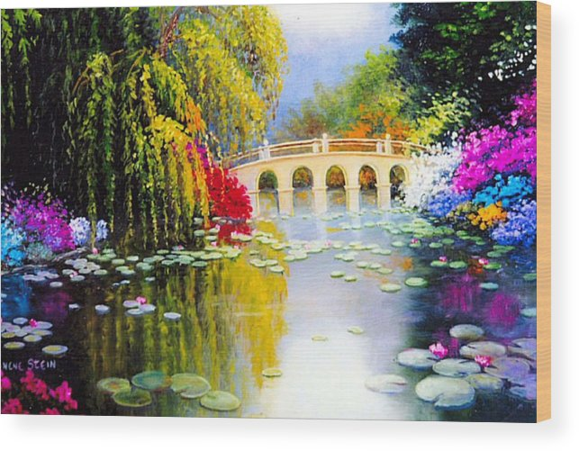 Azaleas In Bloom Wood Print featuring the digital art The White Bridge by Jeanene Stein