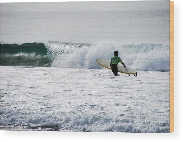 Beach Wood Print featuring the photograph The Yellow Surfboard by Joe Scoppa