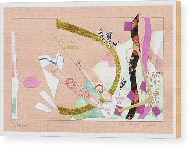 Collage Wood Print featuring the mixed media Thicket by Eileen Hale