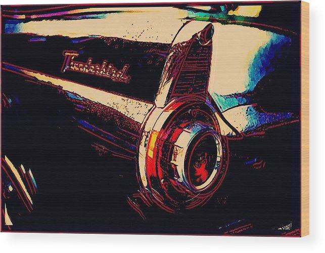 Car Wood Print featuring the digital art Thunderbird by Tracy Blackburn