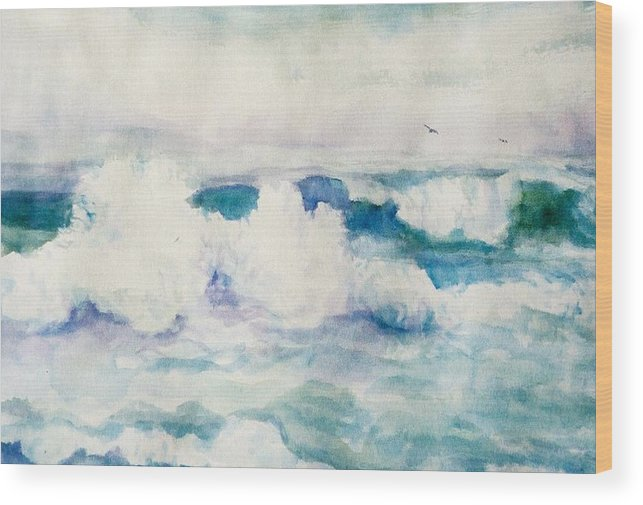 Pacific Ocean Wood Print featuring the painting Thundering Breakers by Ruth Mabee