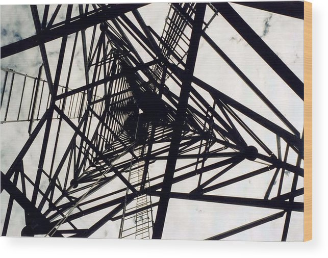 Rust Wood Print featuring the photograph Tower Grid by Margaret Fortunato