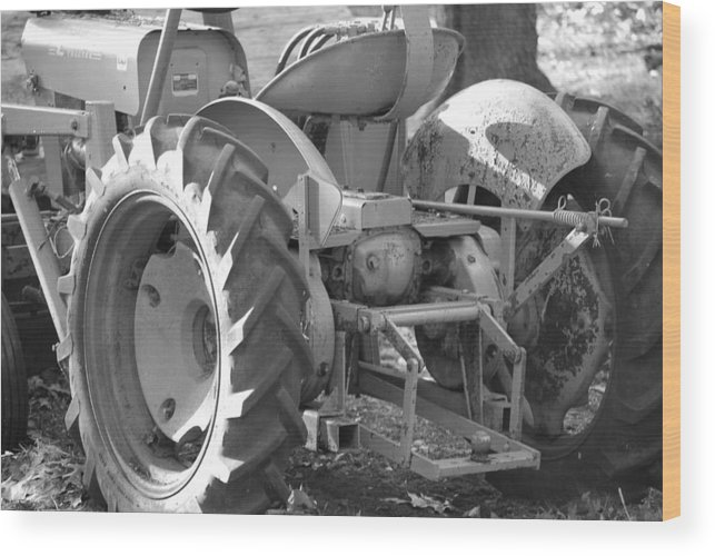 Tractor Wood Print featuring the photograph Tractor In Black And White by Peter McIntosh