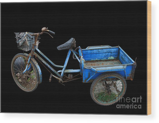 Tricycle Blue Old Bicycle Color Wood Print featuring the photograph Tricycle In Blue by Ty Lee