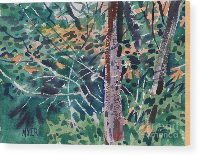 Autumn Foliage Wood Print featuring the painting Turning Leaves by Donald Maier