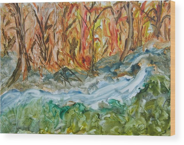 Water Wood Print featuring the painting Up The Creek by Margaret G Calenda
