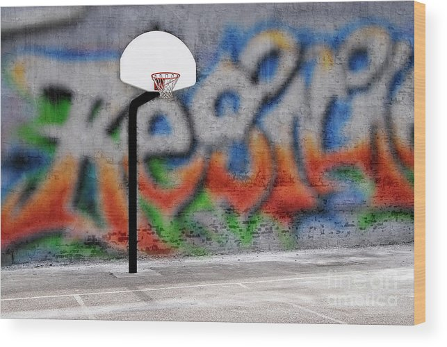 Activity Wood Print featuring the photograph Urban Basketball Hoop Inner City Innercity Wall And Asphalt In O by Lane Erickson