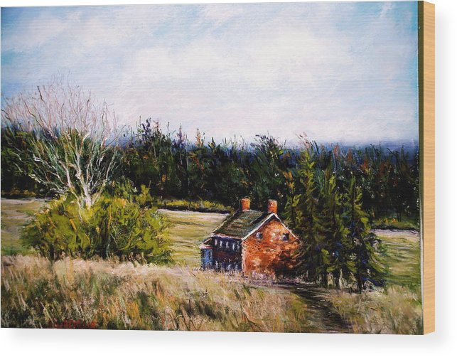 Landscape Wood Print featuring the pastel Valley Forge Spring by Joyce A Guariglia