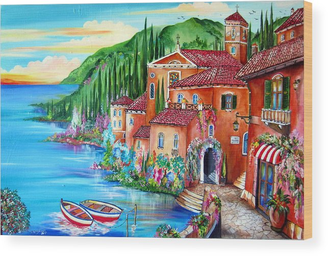 Village Wood Print featuring the painting Via Positano By The Lake by Roberto Gagliardi